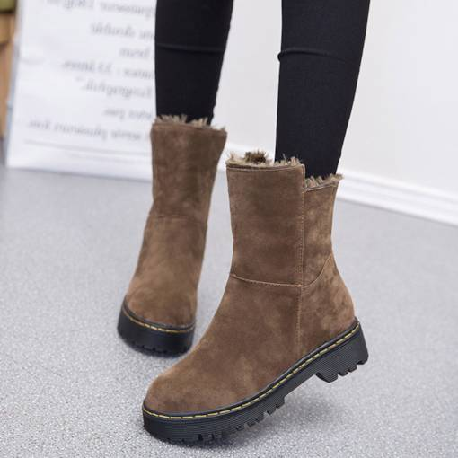 Suede Round Toe Slip-On Block Heel Sewing Snow Boots
