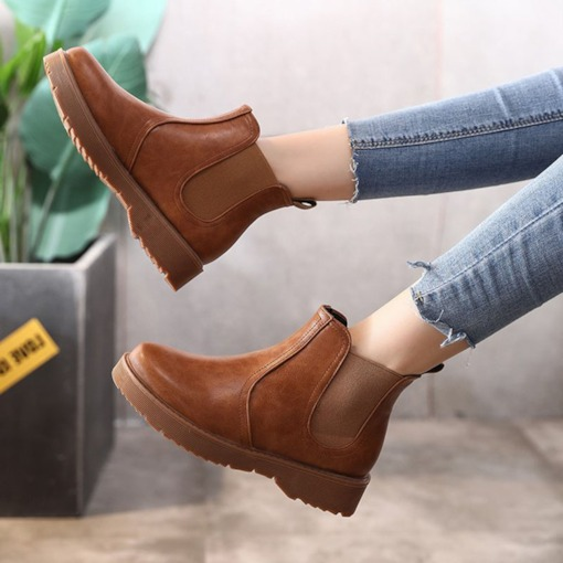 Round Toe Block Heel Patchwork Plain Classical Chelsea Ankle Boots