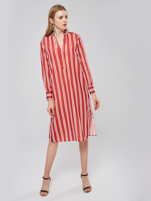 Stripe V-Neck Women's Long Sleeve Dress