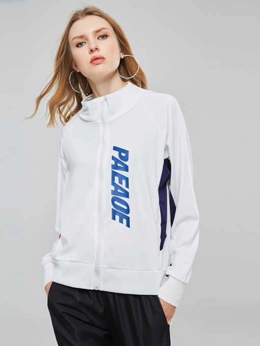 Letter Print Color Block Zipper Stand Collar Women's Sweatshirt