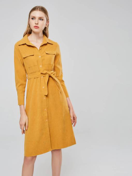 Long Sleeve Button Poacke Casual Day Dress