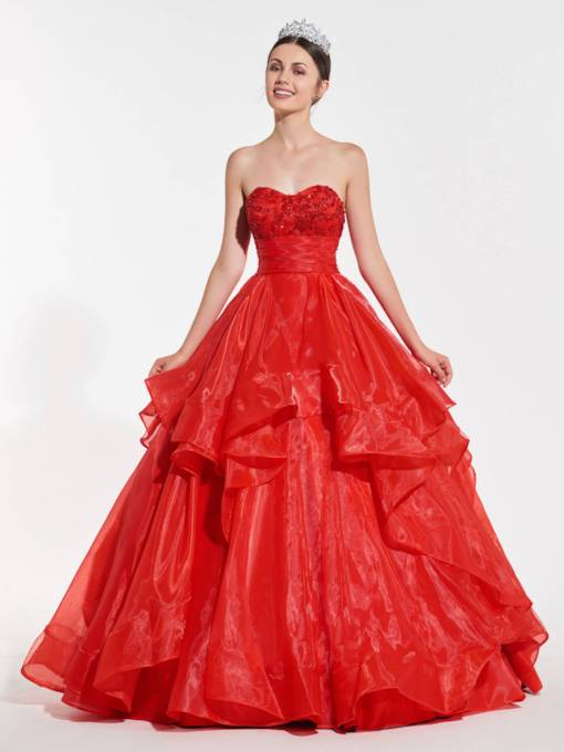 Beading Cascading Ruffles Red Quinceanera Dress