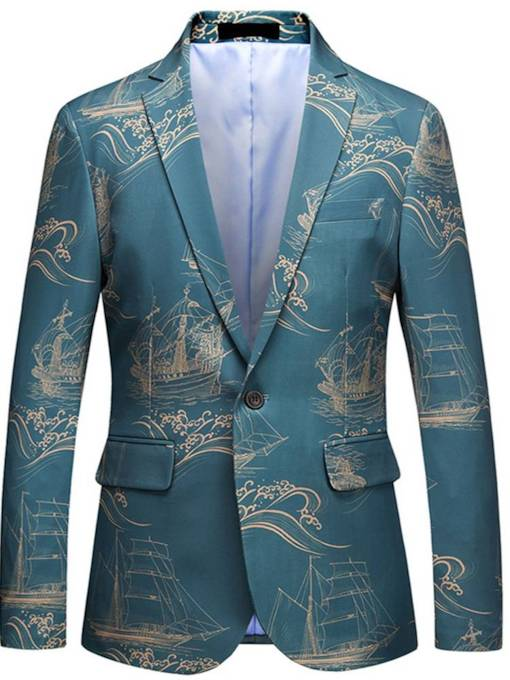 Casual Architecture Print Straight Men's Blazer