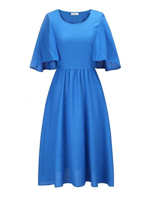 Blue Round Neck Falbala Women's Day Dress