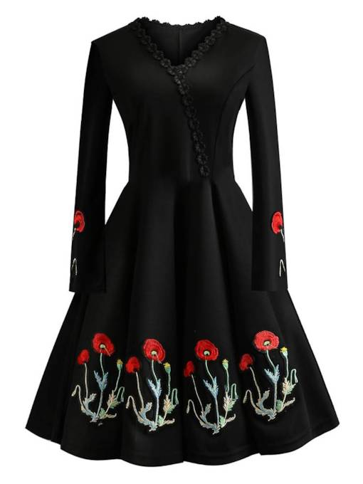 Embroidery V-Neck Women's Long Sleeve Dress