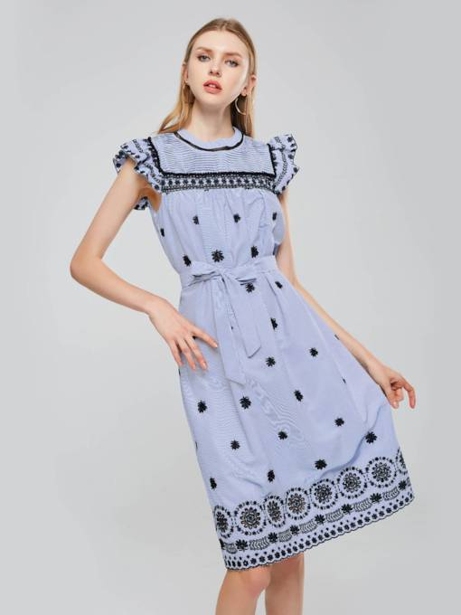 Embroidery Short Sleeves Women's Day Dress