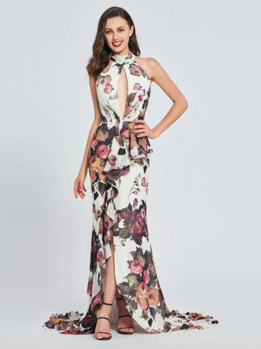 Memaid Multi Color Halter Split-Front Prom Dress