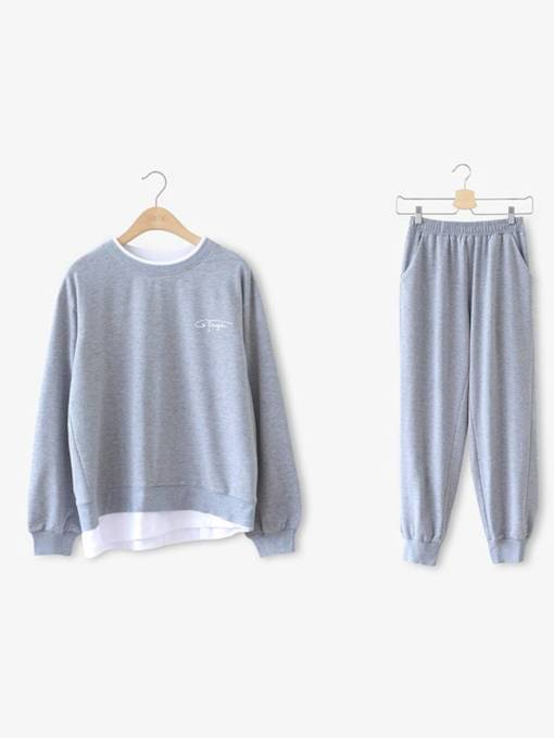 Color Block Patchwork Long Sleeve Hoodie and Pants Women's Two Piece Set