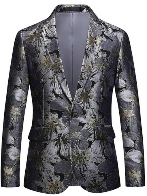 Floral Print Lapel One Button Men's Blazer
