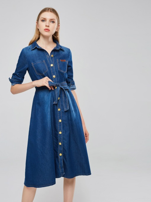 Long Sleeve Belt Bowknot Button Day Dress