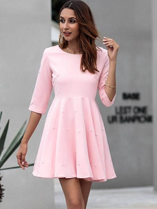 Pink 3/4 Length Sleeves Elegant Women's Day Dress