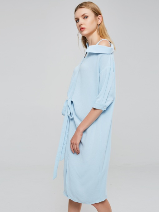 Plain Lapel Half Sleeve Women's Shirt Dress