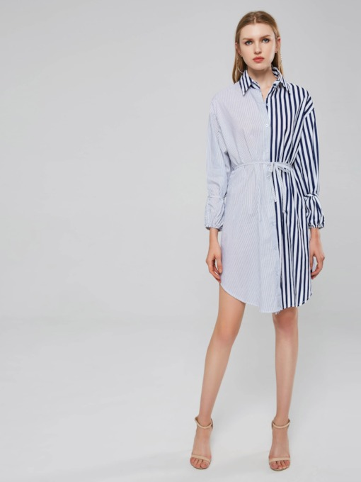 Stripe Long Sleeve Women's Shirt Dress