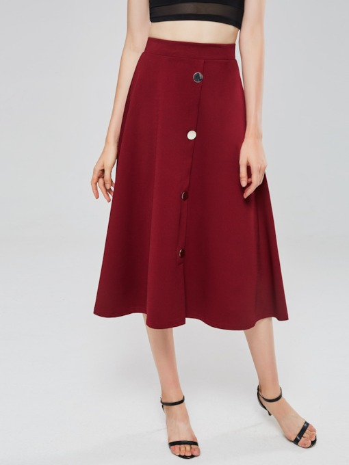 Plain A Line Button Women's Skirt