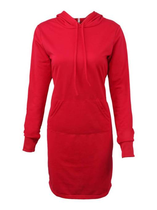 Red Straight Hooded Women's Long Sleeve Dress