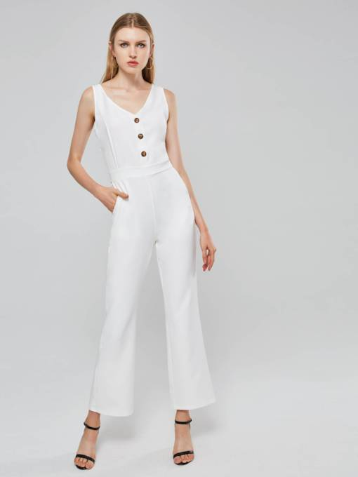 Mid Waist Button Straight Women's Jumpsuit