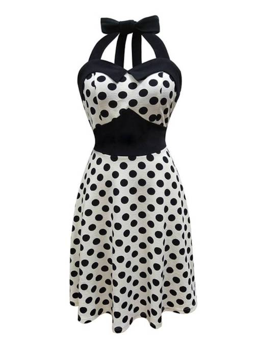 Polka Dots Halter Women's Sexy Dress