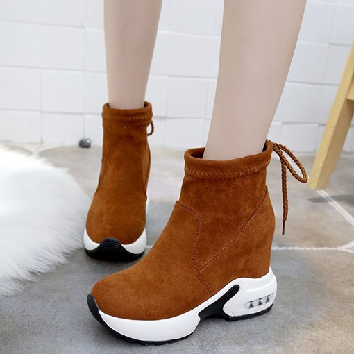 Round Toe Suede Lace-Up Back Platform Elevated Women's Sneaker
