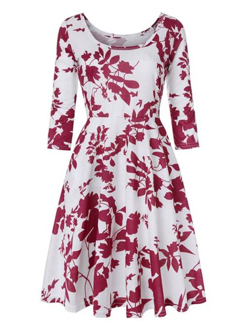 3/4 Length Sleeves Prints Women's Day Dress