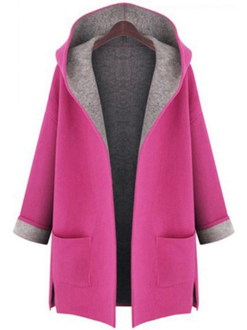 Open Front Double Pocket Hooded Women's Overcoat