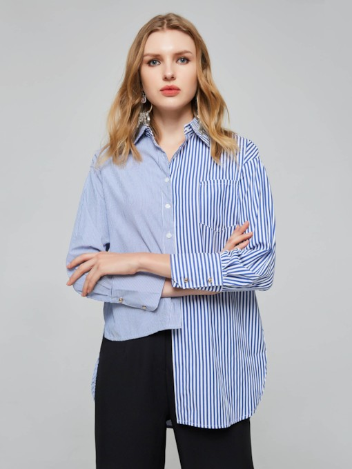 Asymmetric Chic Contrast Color Single-Breasted Women's Shirt