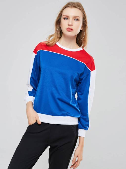 Color Block Scoop Neck Pullover Women's Sweatshirt
