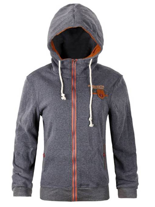 Zipper Up Drawstring Patches Women's Hoodie