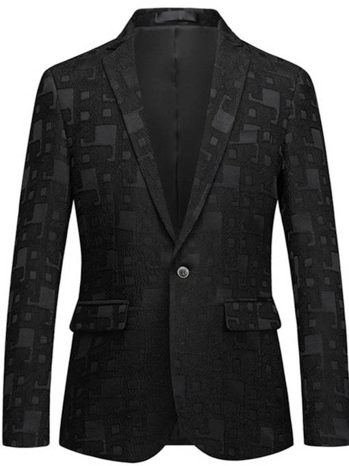 Lapel Geometric Print Straight Men's Blazer