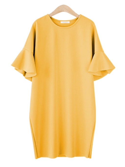 Flare Sleeve Straight Women's Day Dress
