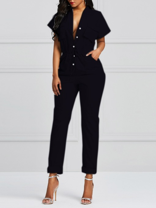 Pocket Casual Plain Full Length High-Waist Women's Jumpsuits
