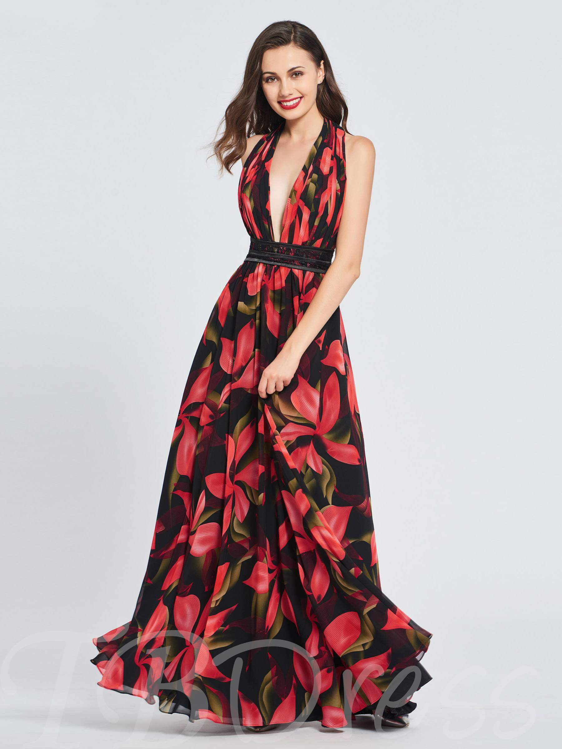 Buy A-Line Halter Printed Prom Dress, Spring,Summer,Fall,Winter, 13397995 for $159.99 in TBDress store