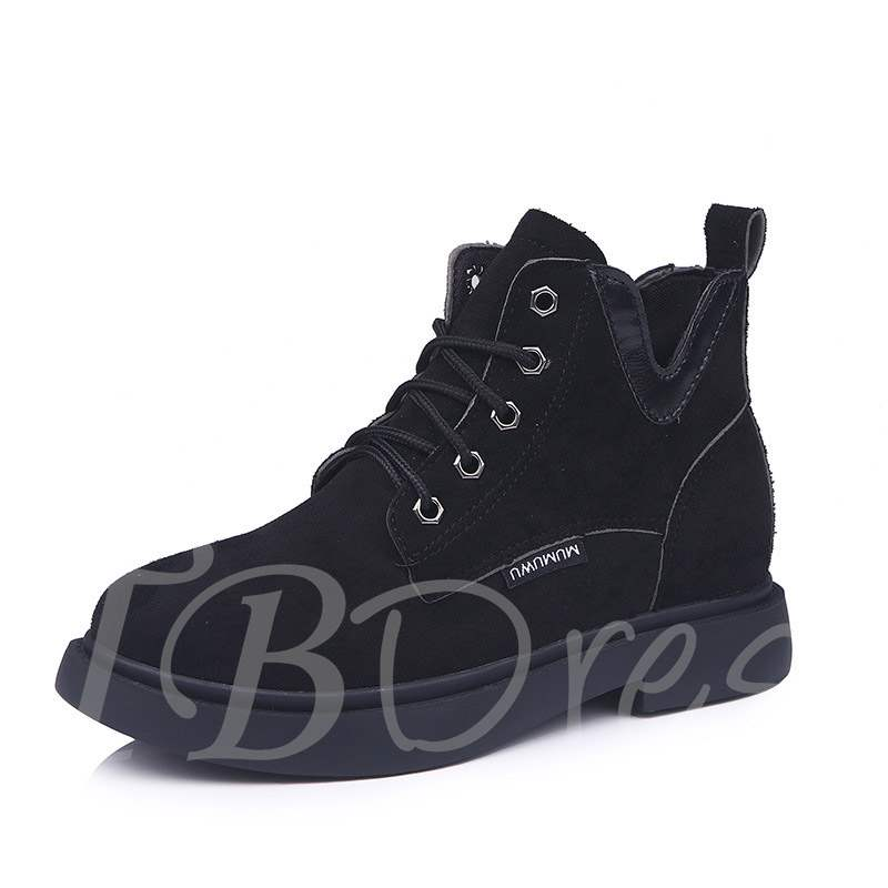 Buy Suede Round Toe Block Heel Lace-Up Front Classical Martin Boots, Spring,Fall,Winter, 13399539 for $24.99 in TBDress store