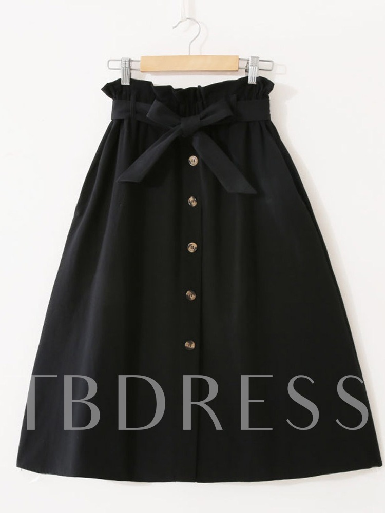 Single Breasted A Line Lace-Up Women's Pleated Skirt