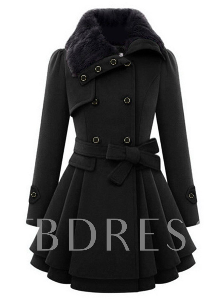 Faux Fur Belt Single-Breasted Peplum A-Line Women's Overcoat