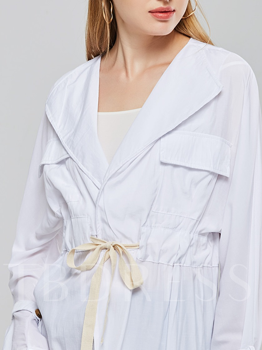 Flare Sleeve Loose Tie Waist Women's Shirt
