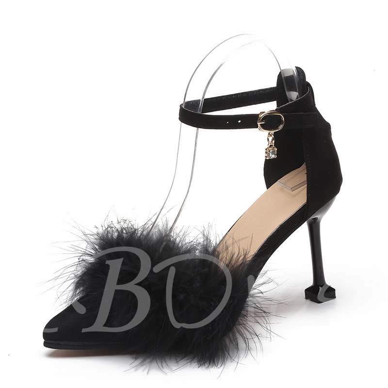 Buy Suede Pointed Toe Spool Heel Pompom Line-Style Buckle Women's Pumps, Spring,Summer,Fall, 13399612 for $28.89 in TBDress store