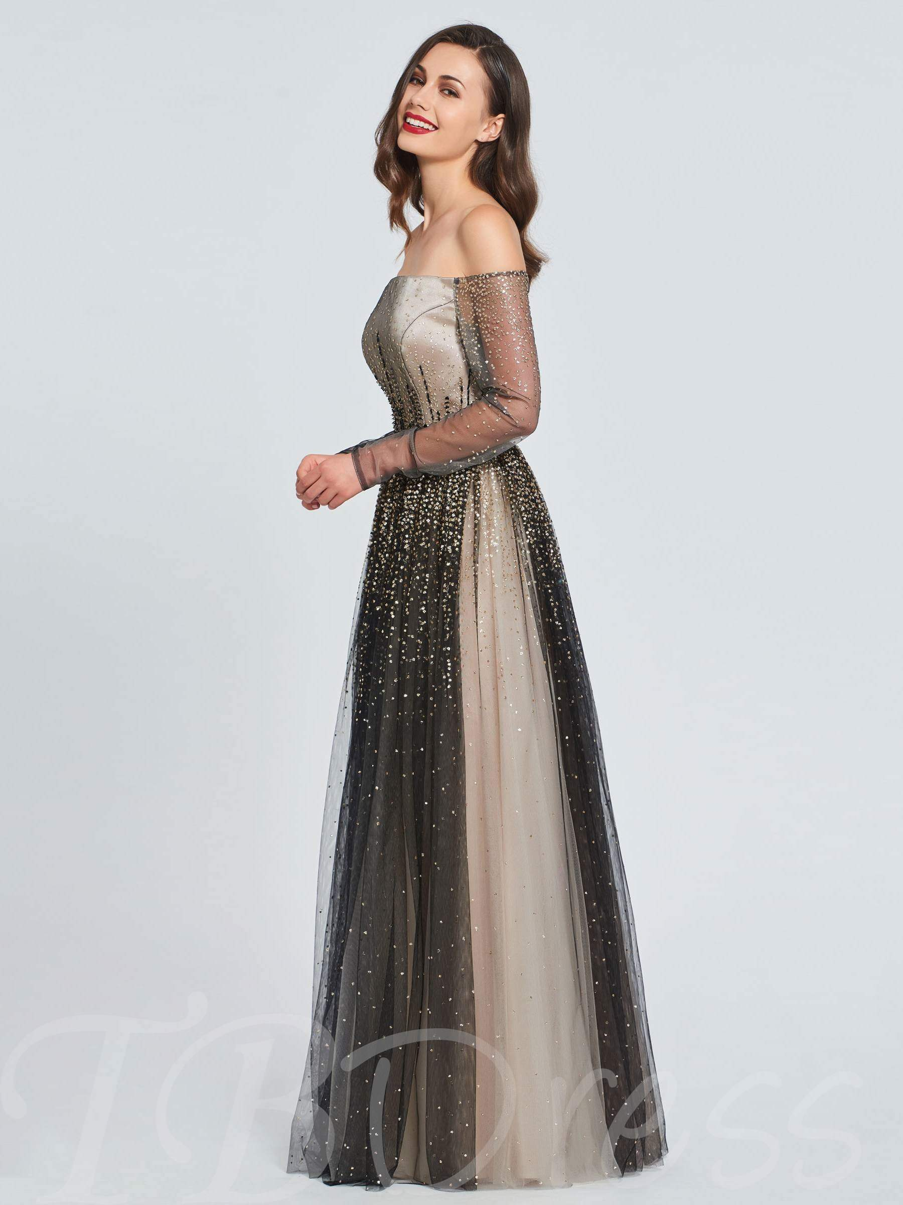 Buy A-Line Off-the-Shoulder Beading Prom Dress, Spring,Summer,Fall,Winter, 13397996 for $169.99 in TBDress store