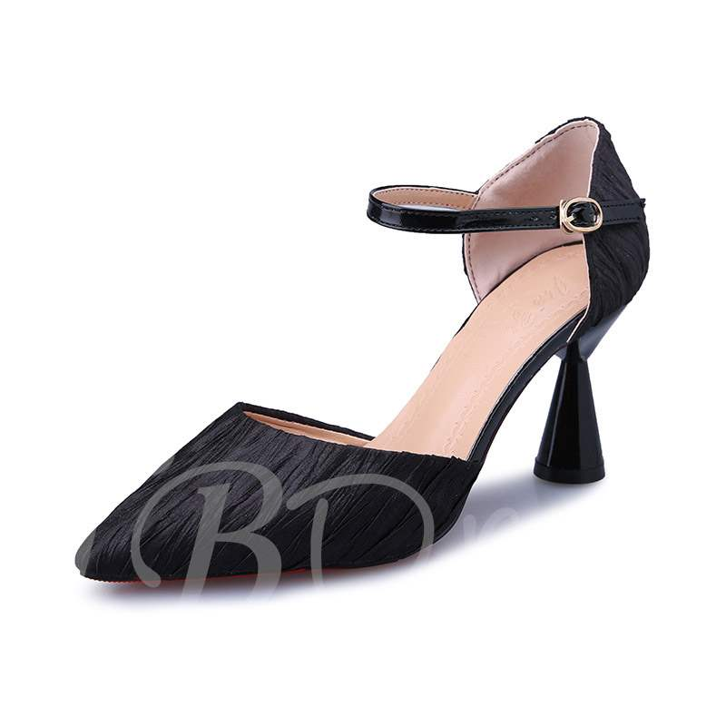 Buy Pointed Toe Shaped Heel Mid-Cut Upper Buckle Women's Pumps, Spring,Summer,Fall, 13399571 for $25.45 in TBDress store