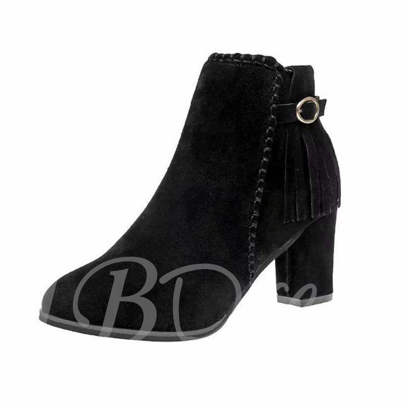 Buy Chunky Heel Round Toe Side Zipper Tassel Buckle Fashion Ankle Boots, Spring,Fall,Winter, 13399656 for $37.13 in TBDress store