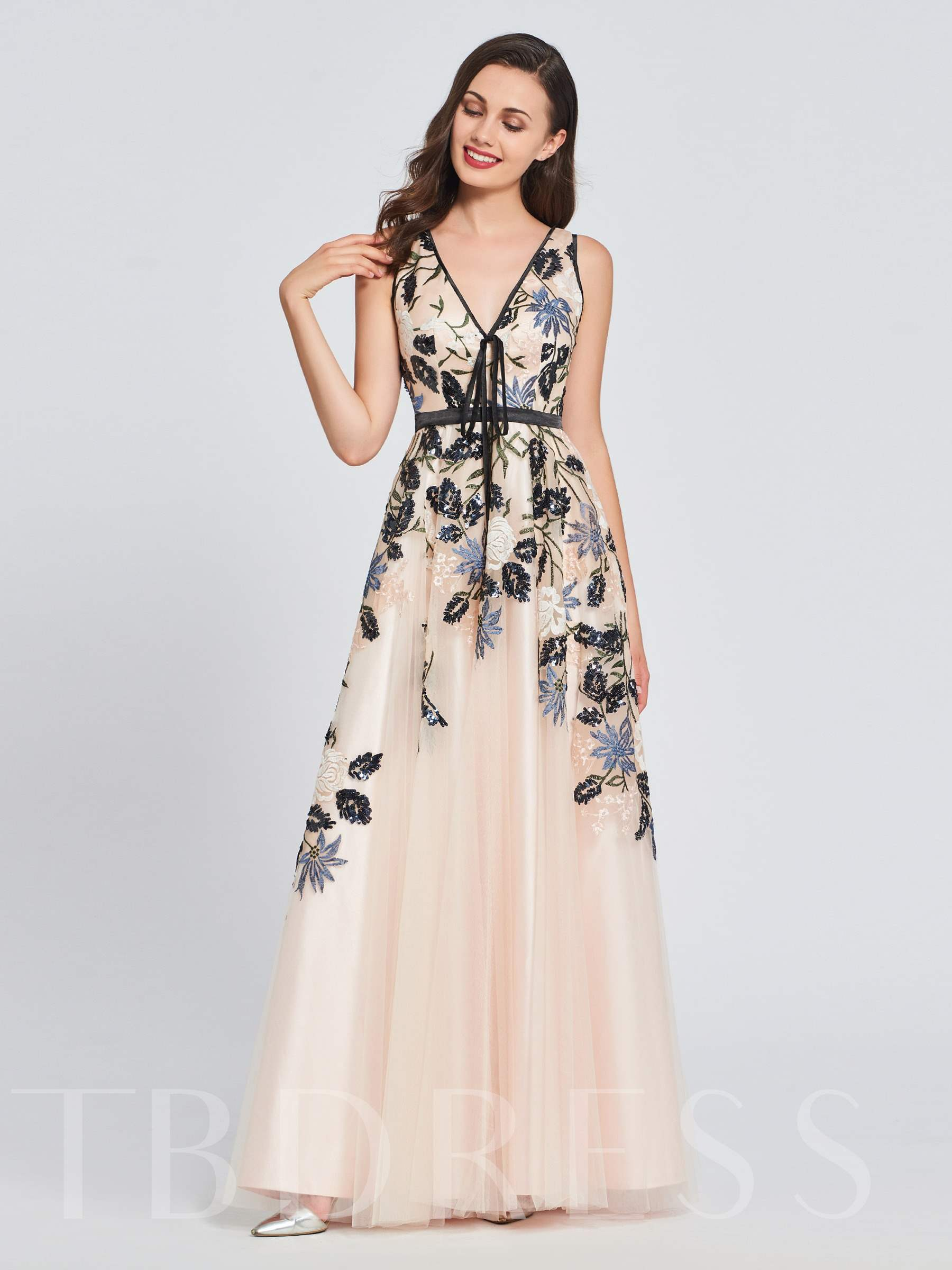 Buy A-Line V-Neck Appliques Embroidery Prom Dress, Spring,Summer,Fall,Winter, 13397998 for $169.99 in TBDress store