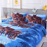 Wolfs on Snow Print Polyester 4-Piece Bedding Sets/Duvet Covers