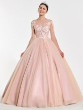 Lace Bateau Long Sleeves Quinceanera Dress