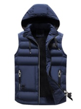 Casual Hoodie Stand Collar Zipper Pockets Plain Men's Vest