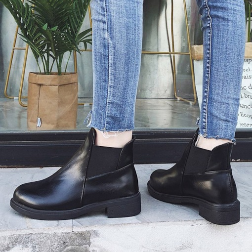 Round Toe Elastic Block Heel Patchwork Classical Women's Ankle Boots