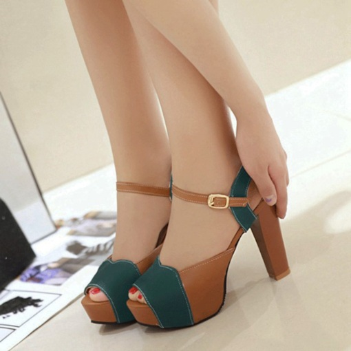 Color Block Sandals Thick Heel Platform Shoes for Women