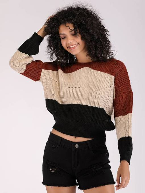 Color Block Loose Fit Women's Sweater