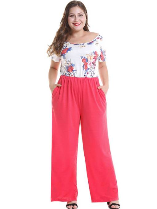 Plus Size Floral Print Patchwork Women's Jumpsuit