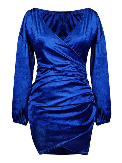 Blue V-Neck Women's Long Sleeve Dress