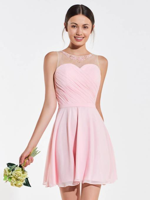 Beaded Illusion Neckline Appliques Short Bridesmaid Dress