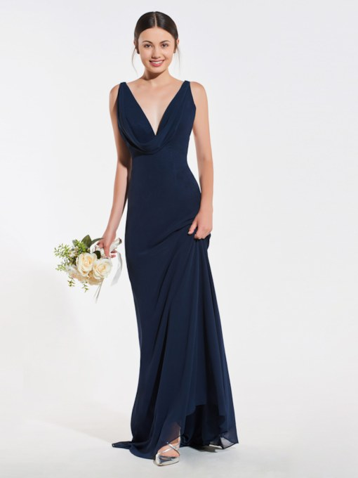 Deep V-Neck Draped Sheath Wedding Dress